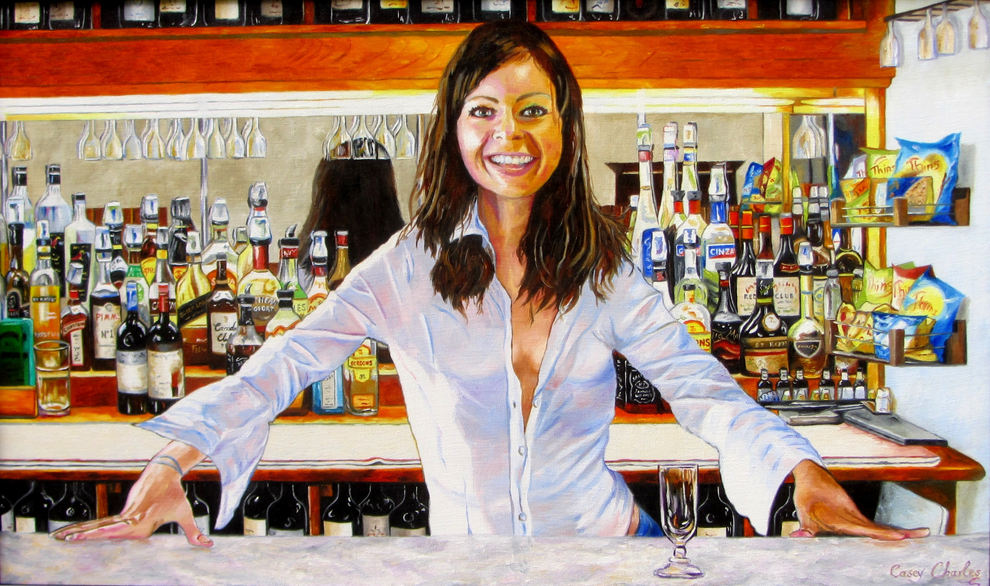 'Stacey's Bar' Oil on Canvas 84cm x 40cm