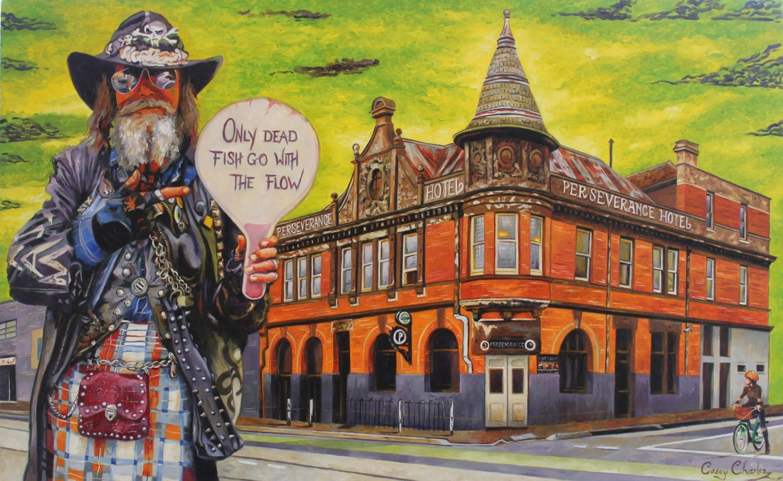'The Cowboy of Brunswick Street' Oil on Canvas 82cm x 52cm