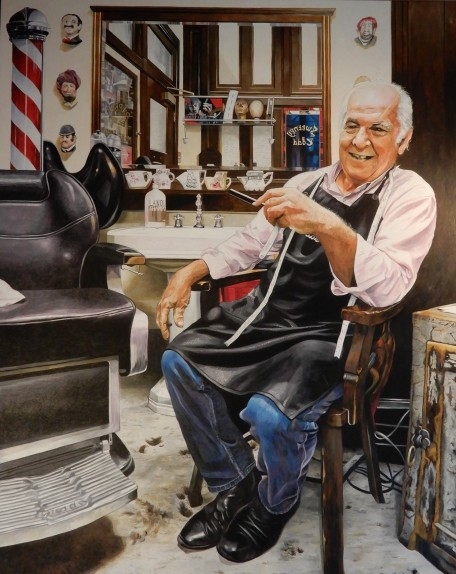 'The Godfather of the City's Barbers'  Oil on Canvas  120 cm x 150 cm
